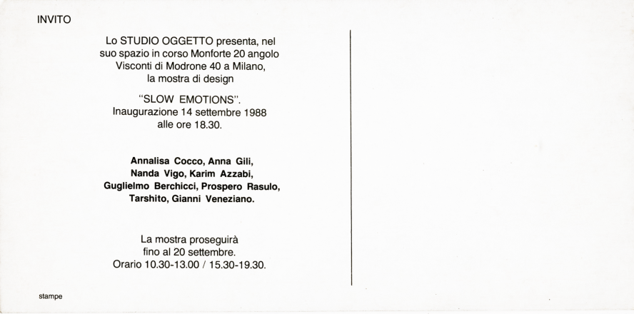 SLOW EMOTIONS_exhibition_GianniVeneziano_1988_VenezianTeam_1