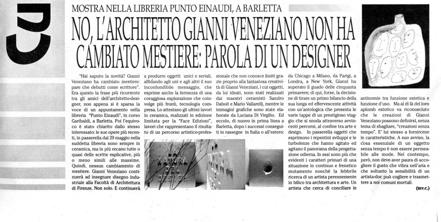 2008.05.27 Quotidiano di Bari_Parola al designer-M.V.C.
