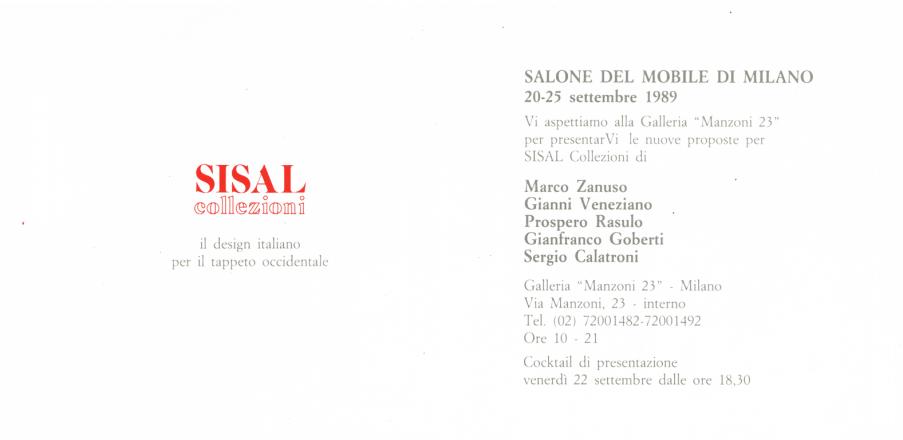 1989 IL DESIGN PER IL TAPPETO ITALIANO