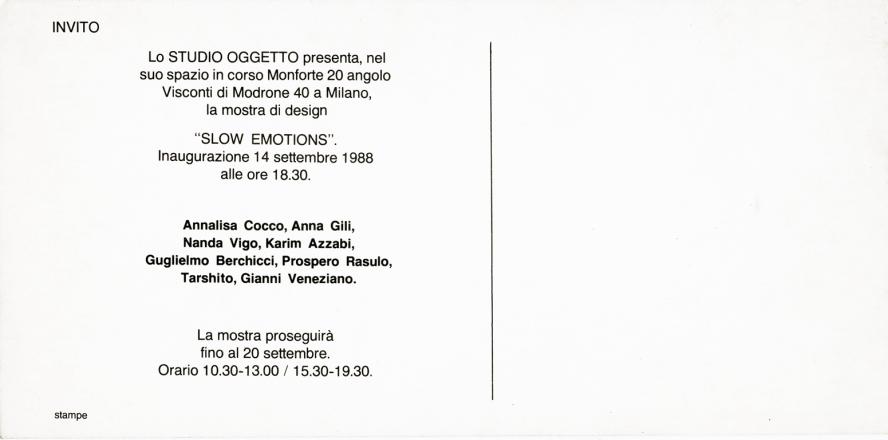 SLOW EMOTIONS_exhibition_GianniVeneziano_1988_VenezianTeam_1