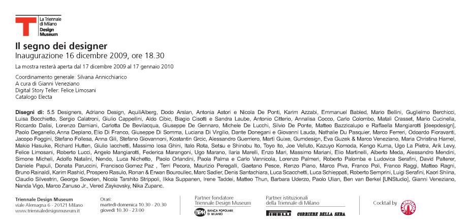 Il segno dei designer - Triennale di Milano - Gianni Veneziano - Luciana Di Virgilio - Veneziano+Team