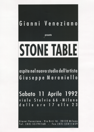 STONE TABLE_exhibition_GianniVeneziano_1992_VenezianTeam